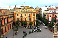 Plaza del Triunfo, Seville, Spanien Royaltyfria Bilder