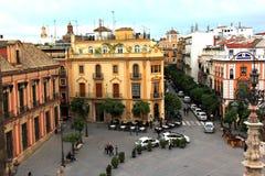Plaza del Triunfo, Siviglia, Spagna immagini stock libere da diritti