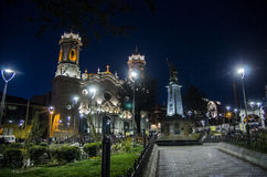 Plaza des Armas, Potosi, Bolivia. Historic center of Potosi, Bolivia at night stock photo