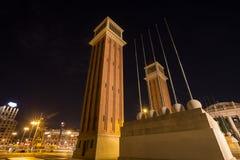 plaza des espanya Βαρκελώνη Ισπανία τη νύχτα Στοκ Φωτογραφίες