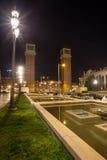 plaza des espanya Βαρκελώνη Ισπανία τη νύχτα Στοκ φωτογραφία με δικαίωμα ελεύθερης χρήσης