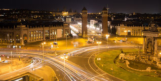 plaza des espanya Βαρκελώνη Ισπανία τη νύχτα Στοκ Εικόνα