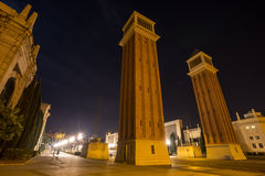 plaza des espanya Βαρκελώνη Ισπανία τη νύχτα Στοκ εικόνες με δικαίωμα ελεύθερης χρήσης