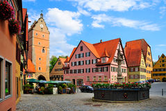 Plaza Dinkelsbhul Germany. A view of colorful buildings and architecture around an open plaza or square in Dinkelsbhul, Germany stock photography