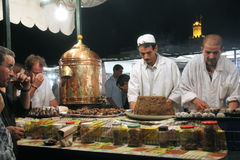 Plaza Djem el fnaa in Marrakech. A stand for selling tea and sweets royalty free stock images