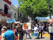 Plaza Dorrego picturesque, traditional and old neighborhood of San Telmo Buenos Aires Argentina. November 2015 royalty free stock photography