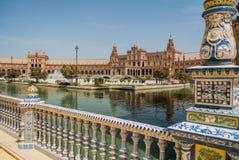 Plaza de España at Sevilla in Spain. Plaza España at Sevilla Spain with blue sky, hot day in summer Stock Photography