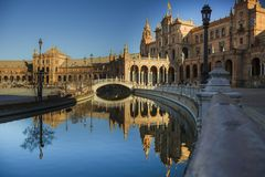 Plaza España, Seville, Andalusia, Spain, ESP. Plaza España in Seville Andalusia, a picturesque place, scene of great films and series. A few minutes from Royalty Free Stock Photo