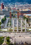 Plaza Espana Barcelona, Barcelona, Spain. Aerial view of Plaza Espania  from Montjuic ,Barcelona, Spain Stock Images