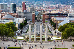 Plaza Espana Barcelona, Barcelona, Spain. Aerial view of Plaza Espania  from Montjuic ,Barcelona, Spain Royalty Free Stock Image