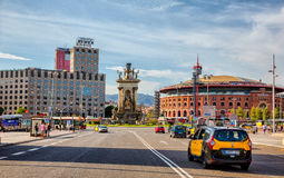 Plaza Espana Barcelona, Spain. View of Plaza Espania from the Reina Maria Cristina street  ,Barcelona, Spain Stock Photos