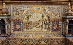 Plaza Espana. Detail of the colorful tiles of Plaza Espana in Seville, Spain Stock Photos