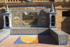 Plaza Espana i Seville Andalucia Spanien Arkivbilder
