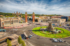 Plaza Espania Barcelona, Spain. Aerial view of Plaza Espania  from  Arenas de Barcelona, Spain Royalty Free Stock Photos