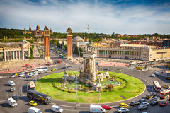 Plaza Espania Barcelona, Spain. Aerial view of Plaza Espania  from  Arenas de Barcelona, Spain Royalty Free Stock Photography