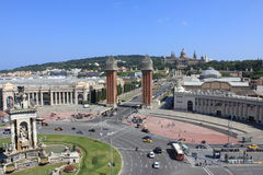 Plaza Espanya. View of a famous place in Barcelona, the plaza Espanya Stock Photography
