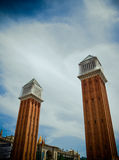 Plaza Espanya towers. Perspective view of the towers in Plaza Espanya in Barcelona, Spain Royalty Free Stock Photo
