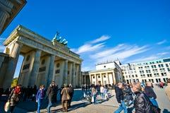Plaza för Brandenburg port, Berlin royaltyfri foto