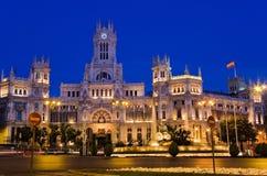 plaza för natt för cibelesde madrid Arkivbild