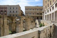 Plaza för St Oronzo i Lecce Arkivfoton