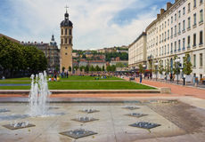 Plaza with Fountains, Lyon France Royalty Free Stock Image