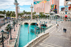 Plaza framme av Venetian, Las Vegas Arkivbilder