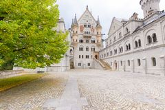 Plaza in front of the Bavarian German castle stock photography