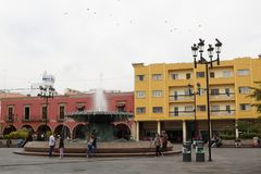 Plaza Fundadores in the morning, Leon, Guanajuato royalty free stock photography