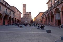 Plaza Giuseppe Verdi en Bolonia Imagenes de archivo