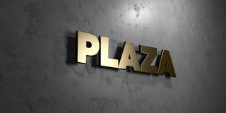 Plaza - Gold sign mounted on glossy marble wall - 3D rendered royalty free stock illustration. This image can be used for an online website banner ad or a Vector Illustration