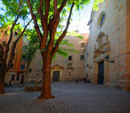 Plaza In Gothic Quarter. Small plaza or square and church building, in the Gothic quarter of Barcelona, Spain Royalty Free Stock Photography