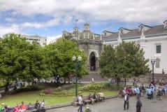 Plaza Grande με τον καθεδρικό ναό του Κουίτο Στοκ Εικόνες