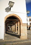 Plaza Grande, Big Square, Zafra, province of Badajoz, Extremadura, Spain. Arcades of the main square of Zafra, called Plaza Grande, with the tower of the church Royalty Free Stock Photography