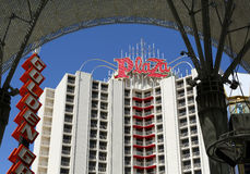 Plaza hotel on Fremont Street. Plaza hotel on the historic Fremont Street Experience is shown in Las Vegas Stock Photo