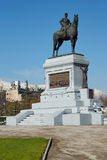 Plaza Italia. In the centre of Santiago, Chile. Large oval shaped open area with statue of a man mounted on a horse Royalty Free Stock Images