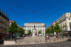 Plaza Luis de Camoes, Chiado district in Lisbon, Stock Image