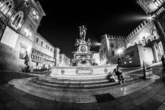 Plaza Maggiore de Bolonia de Fontena Nettuno Foto de archivo