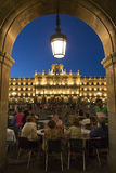 Plaza Major - Salamanca - Spain. Evening crowds at the Royal Pavillion in the Plaza Major in the city of Salamanca in the Castilla-y-Leon region of central Spain Stock Photography