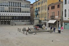 Plaza Manin. With the memorial sculpture to Manin and lion of St. Mark, the traditional symbol of Venice, Venice, Italy royalty free stock photos