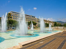 Plaza Massena Square. Fountains at Plaza Massena Square in the city of Nice, France stock images