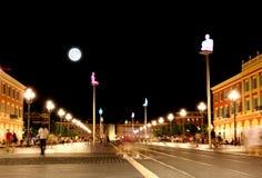 The Plaza Massena Square at night in Nice Stock Image