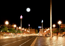 The Plaza Massena Square at night in Nice. France stock image