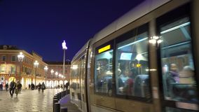 The Plaza Massena Square at night in Nice France. NICE, FRANCE - MARCH 28, 2018: The Plaza Massena Square at night in Nice France stock video
