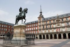 Plaza Mayor. With statue of King Philips III in Madrid, Spain stock image