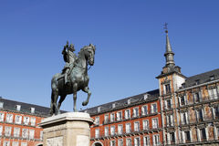 Plaza Mayor. Bronze statue of King Philip III (by sculptor Giambologna) at the center of Plaza Mayor in Madrid, Spain stock photography