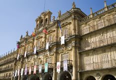 Plaza Mayor. In Salamanca.  View of the town hall building (Ayunamiento).  Dates from the beginning of the 18th century, is the central square of the city Stock Image
