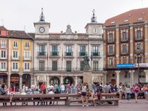 Plaza Mayor - Burgos. The Main Square Plaza Mayor is a popular meeting point for young and elderly alike - Burgos, Castile and Leon, Spain, 12 September 2014 royalty free stock photography