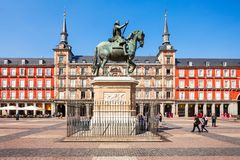 Plaza Mayor is a central plaza in Madrid, Spain. The Plaza Mayor or Main Square is a central plaza in the city of Madrid, Spain. Madrid is the capital of Spain stock images