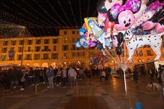 Plaza Mayor Christmas market Stock Photo