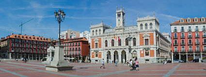 Plaza Mayor and the city hall. VALLADOLID – SEPTEMBER 22: The Plaza Mayor and the city hall of Valladolid on September 22, 2012 on Valladolid, Castilla y León Royalty Free Stock Images